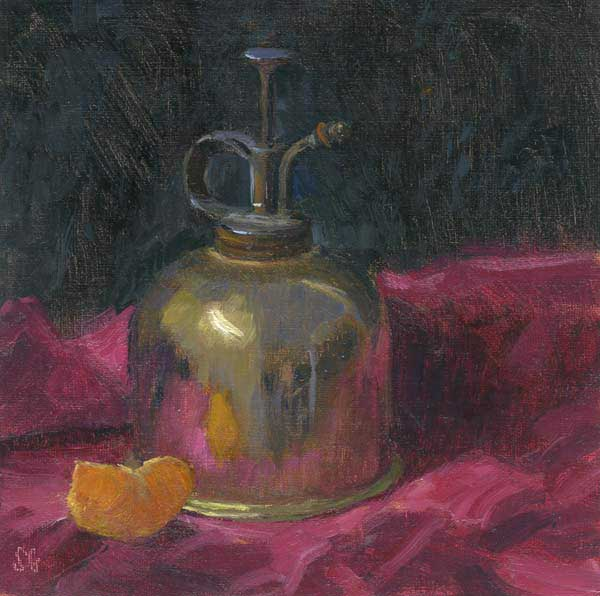 Gold and Alizarin, 6 x 6 in. oil mounted on board
