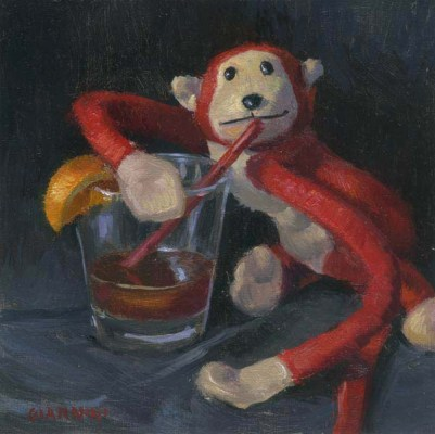 Drunk Monkey with a Manhattan, 6 x 6 in., oil on linen mounted on board