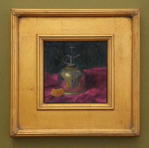 Gold and Alizarin, 6 x 6 in., framed view