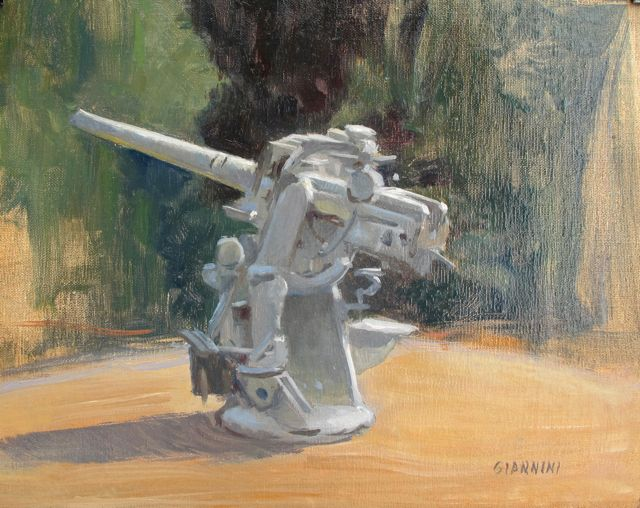 Antique Anti Aircraft Gun, Maine Marintime Academy, 8 x 10 in. Oil