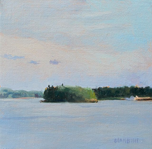 View of castine Harbor, 6 x 6 in. oil on linen.