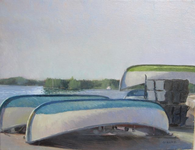 The Monomoys, 11 x 14 in. Oil on linen. (This is the name of this kind of boat)