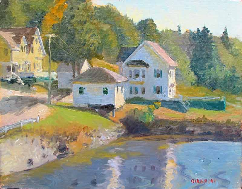 Sunlit Cove, Boothbay Harbor, ME., .8 x 10 in., oil on linen