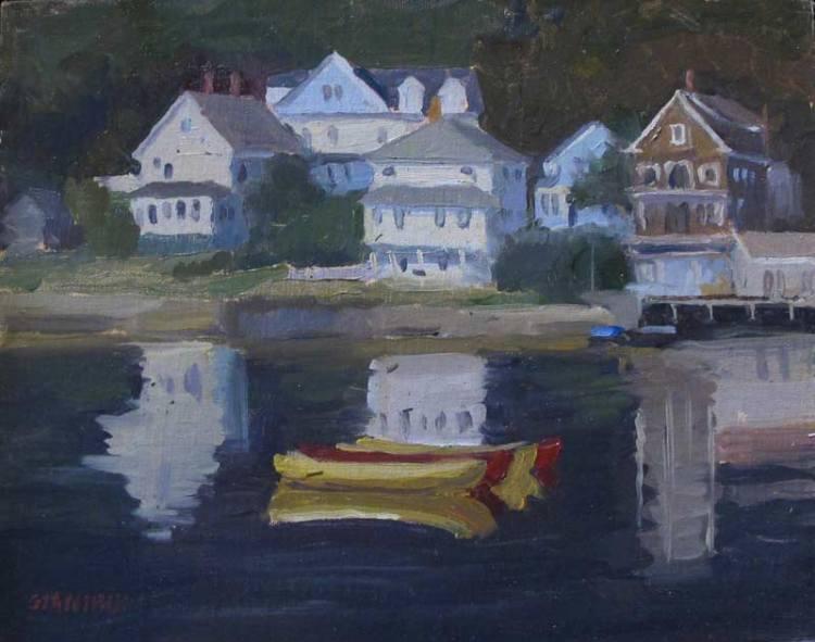 Kayaks, Boothbay Harbor, ME., .8 x 10 in., oil on linen