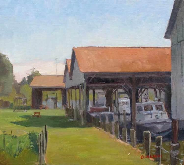 Boathouses, Calverts Marina, Solomon's MD., 10 x 11 in. oil on linen