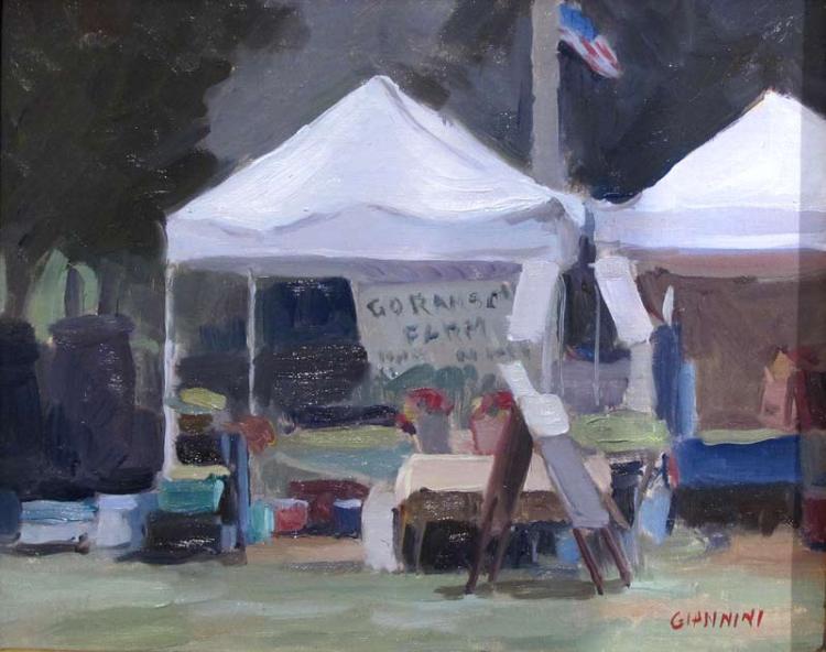 Farmers Market Quick Sketch, 8 x 10, oil on linen