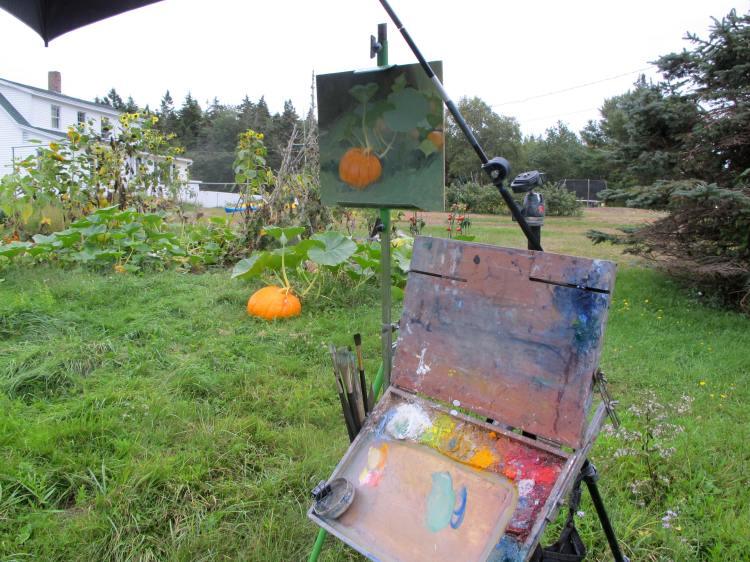 Setup painting the Pumpkins near Boothbay Harbor, ME.