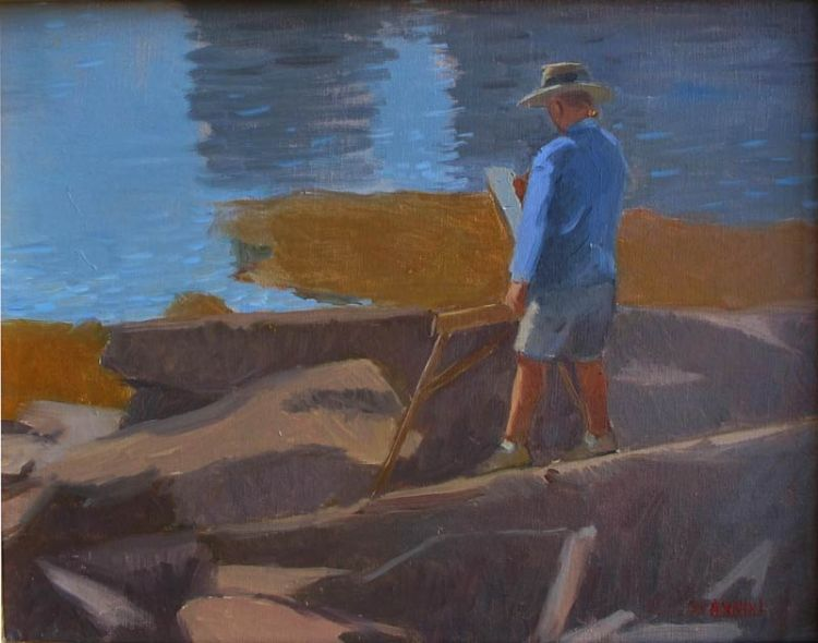 Painting at Grimes Cove, 11 x 14 in. Oil on linen