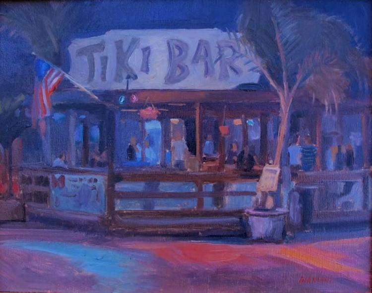 Tiki Bar, Solomon's, MD., 11 x 14 in. oil on linen