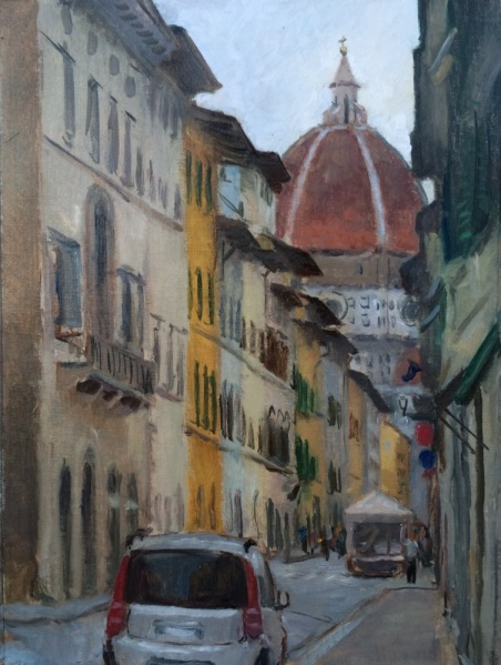 View Down to the Duomo, Florence,9 x 12 in., oil