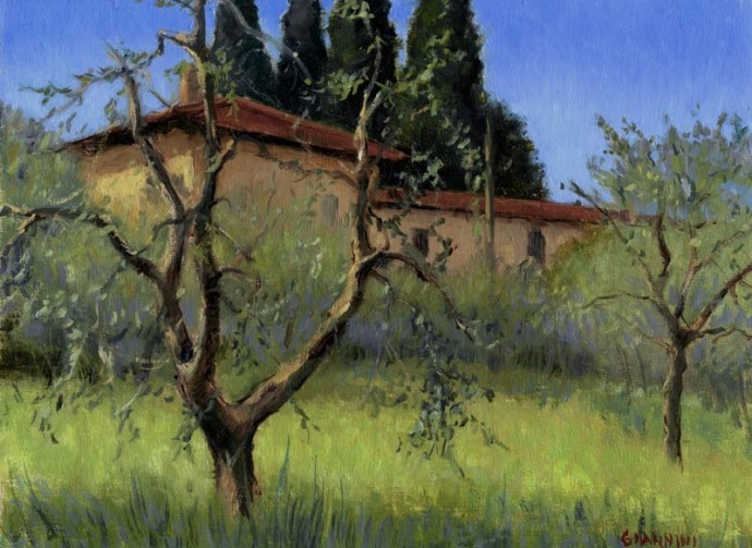 The Hills above Florence, 9 x 12 in.,oil