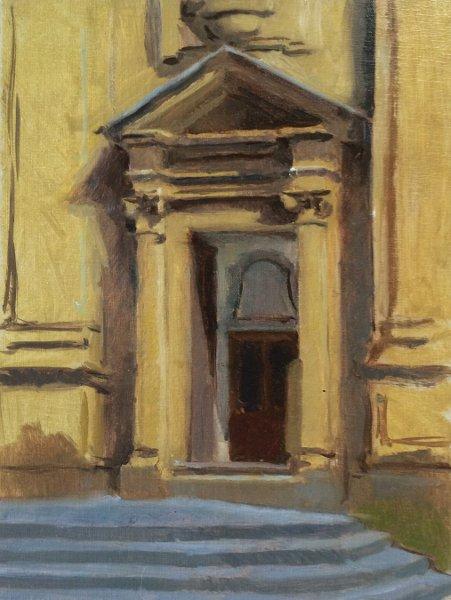 Church Facade, Florence, 9 x 12 in.,oil