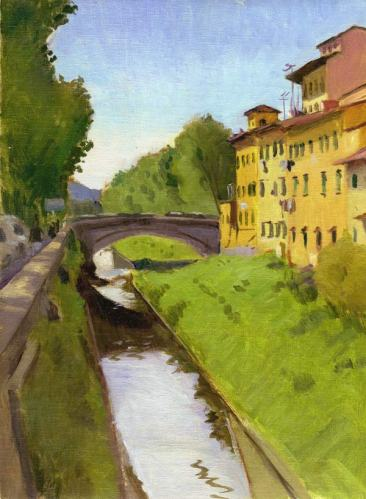 Mugnone River Near Le Cure, Florence,Italy, 9 x 12 in. oil