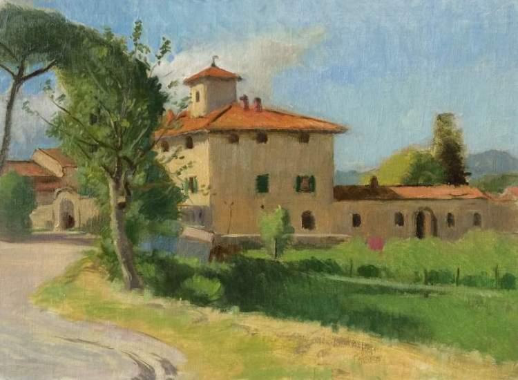 Tuscan Farm, Borgo San lorenzo, Italy, 9 x 12 in., oil