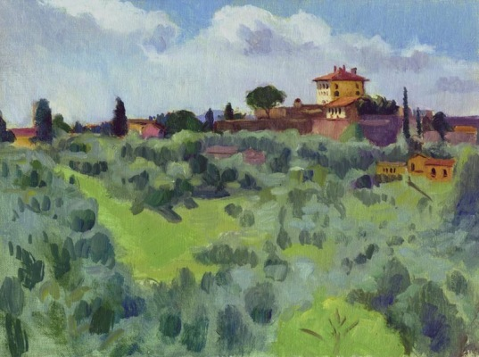 View from In Front of San Miniato, Florence, 9 x 12 in., oil