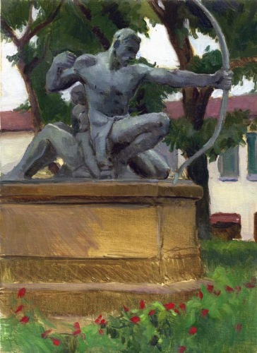 Archer, Piazza Dalmazia, Florence, 12 x 9 in., oil