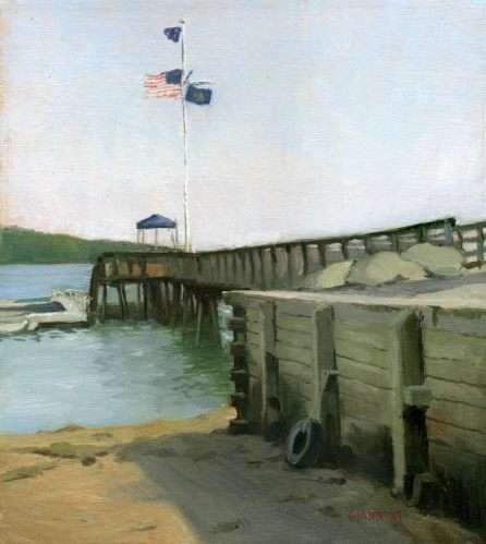 Castine Yacht Club Pier, 11 x 10 in., oil.