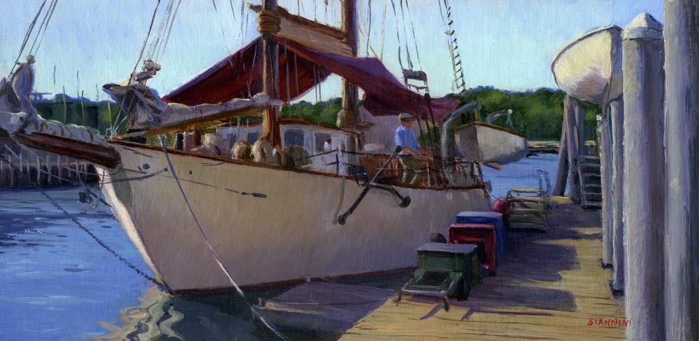 La Donna, Rockland Harbor, 8 x 16 in. oil,