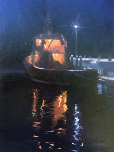 Castine by Night, 9 x 12 in.,Oil.