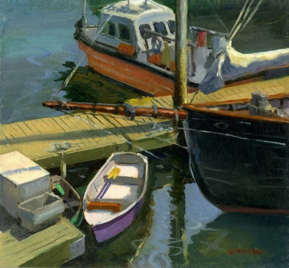 The Purple Dinghy, 10 x 11 in., oil