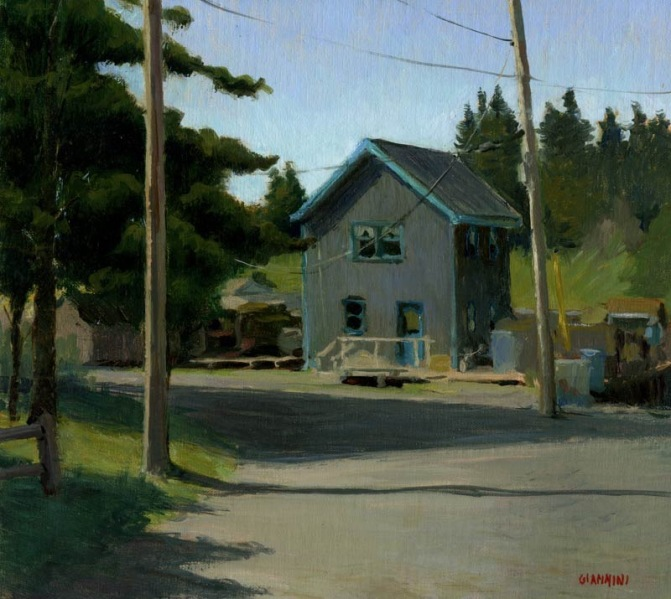 Torquoise House, Port Clyde, Maine, 10 x 11 in., oil