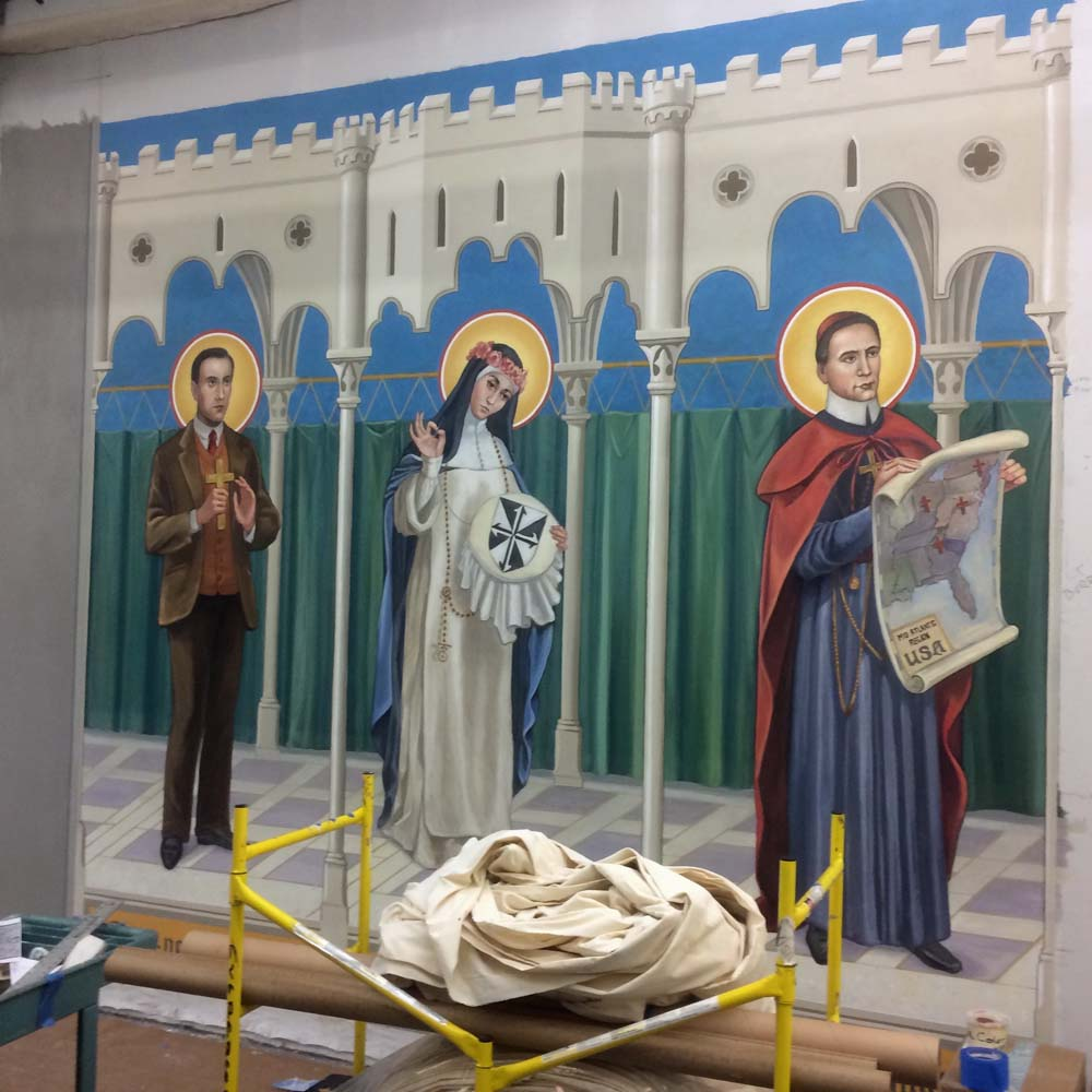 This mural was painted with Flashe paint, a very non-reflective paint similar to gauche that dries permanent.