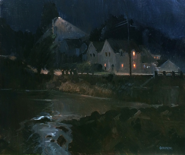 South Thomaston Nocturne,11x 14 in., oil