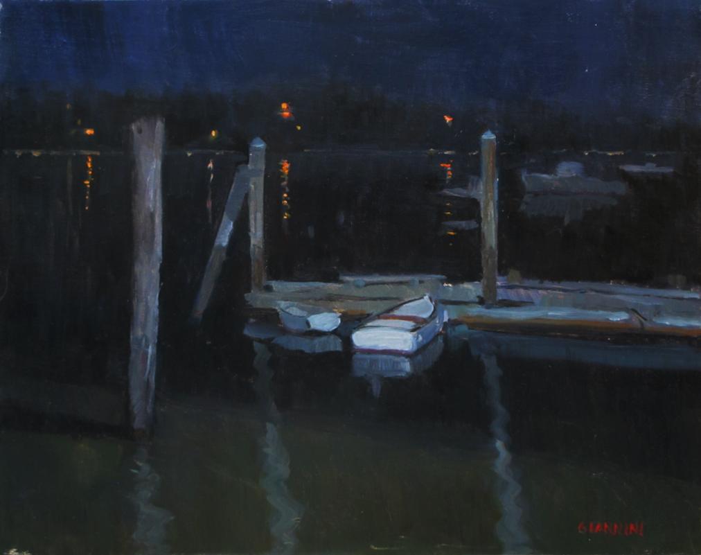 Wiscassett Bay Nocturne, 11 x 14,'oil