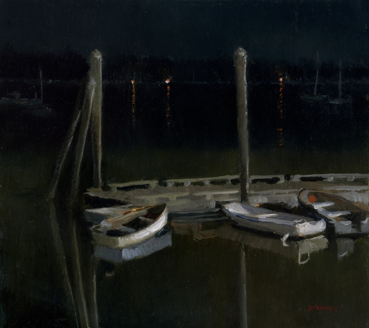 Wiscassett Harbor Nocturne, 10 x 11 in.,oil