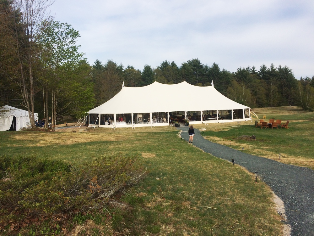 The tent where we had the final exhibit on the grounds of the The Preserve At Chocorua.