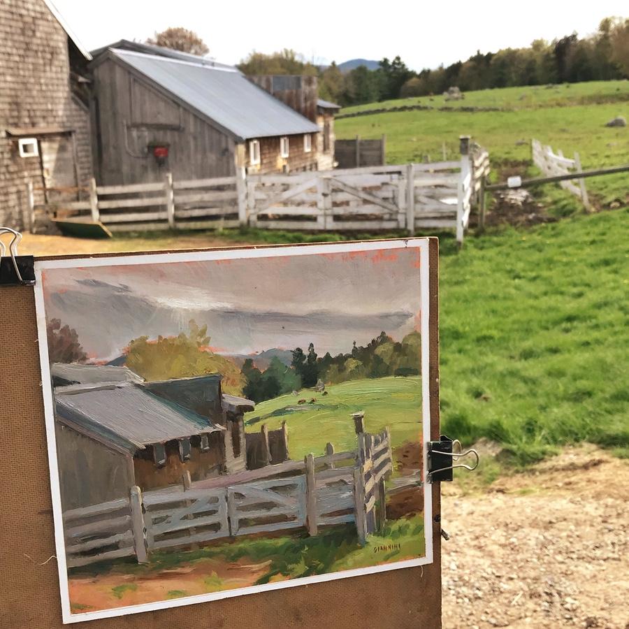 Painting at Remick Farm, Tamworth,NH.