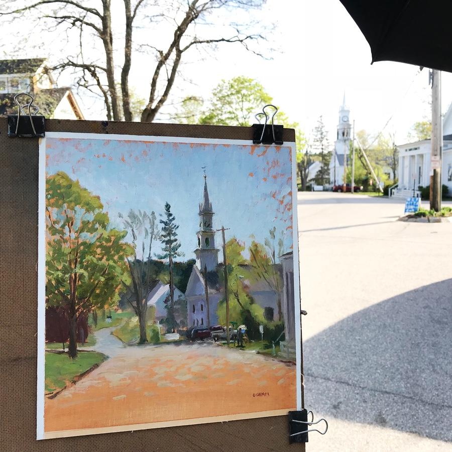Painting in Tamworth village