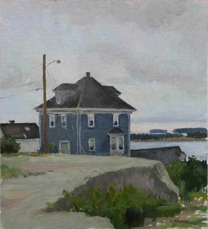 """Stonington Blue House, 11 x 10"""" or 27 x 25 cm., oil"""