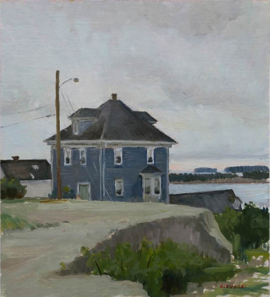 "Stonington Blue House, 11 x 10"" or 27 x 25 cm., oil"