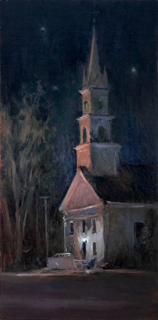 "Congregational Church by Night,Tamworth, NH, 8 x 16"" or 20 x 40 cm., oil"