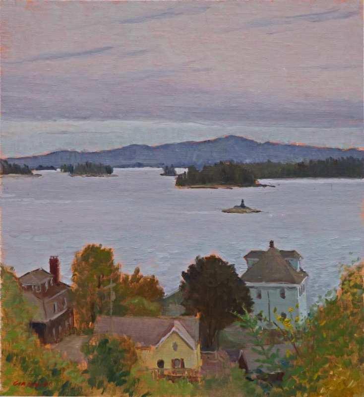 "Low Clouds, Stonington Harbor, 11 x 10"" or 27 x 25 cm., oil."