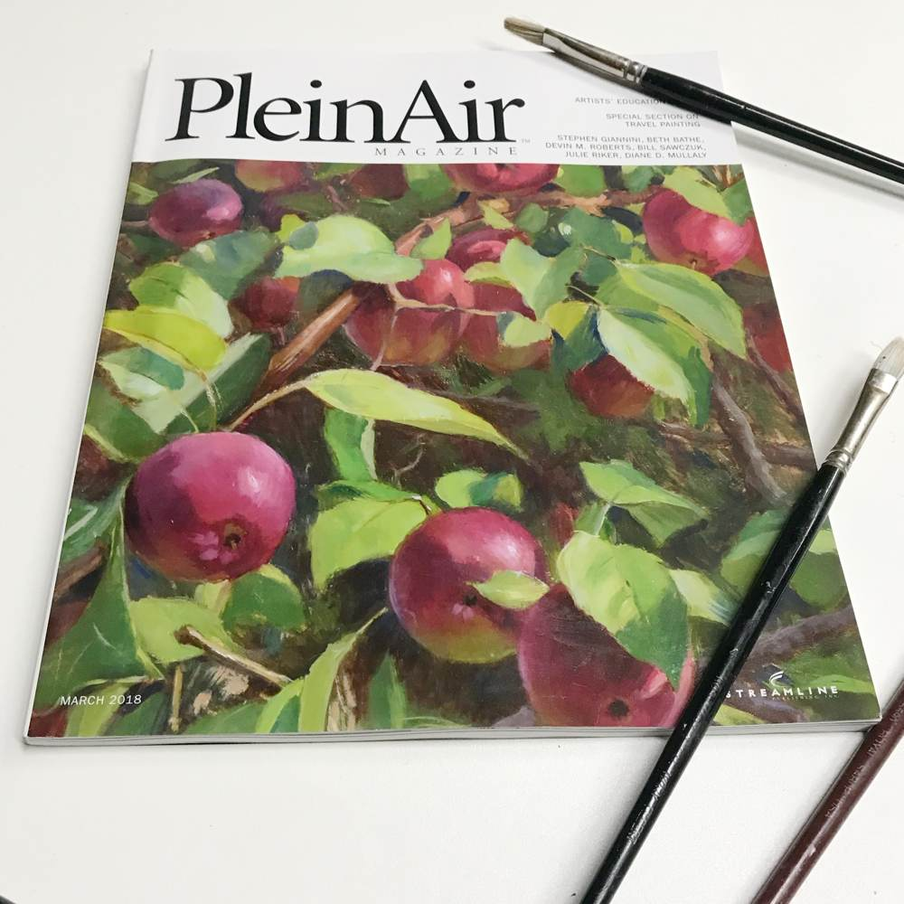 My painting on the cover of Plein Air Magazine, March 2018 issue
