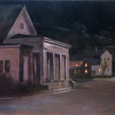 "Barnstormers theater, Tamworth, NH, 8.5 x 12"" or 21 x 31 cm., oil"