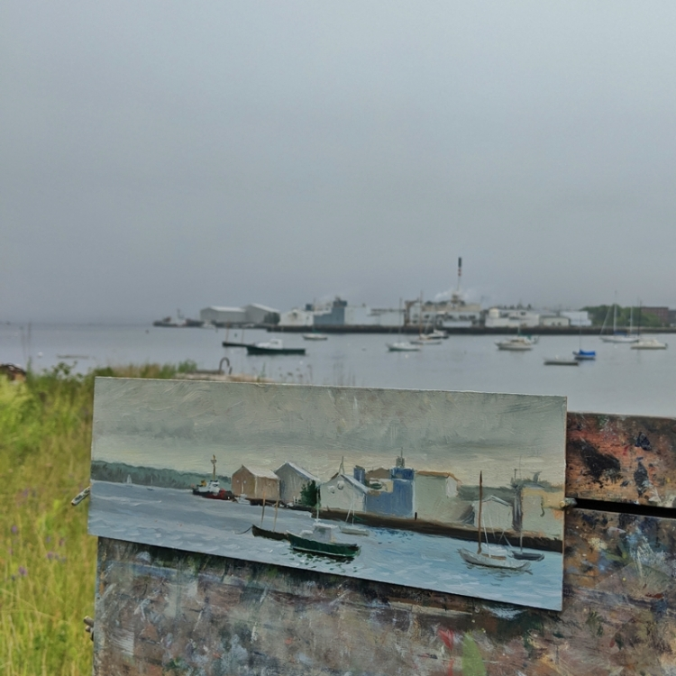 Painting on location at the Rockland, Maine Waterfront