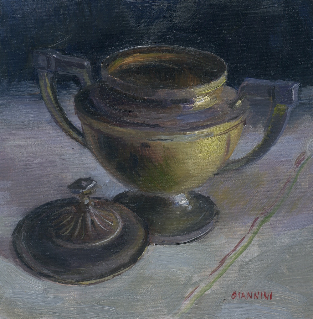 Much loved sugar bowl.6 x 6 in.,oil.