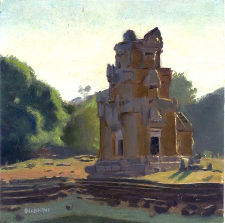 "Angkor Treasure Storage Houses # 3, 7 x 7"" or 13 x 18 cm., Oil."
