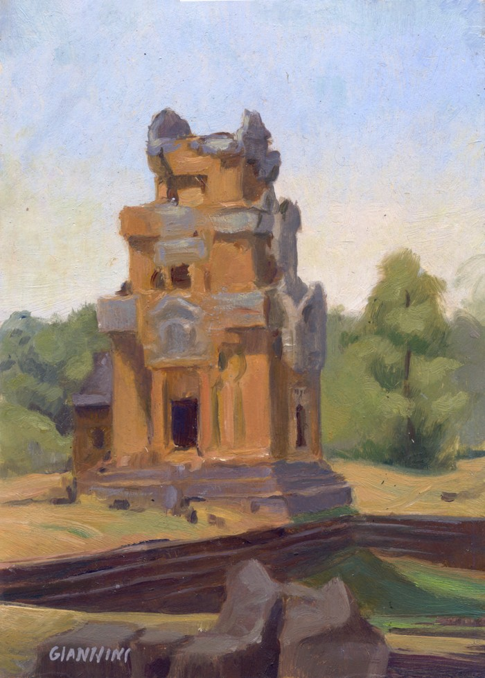 "Angkor Treasure Storage Houses, 5 x 7"" or 12.5 x 17.5 cm., Oil."