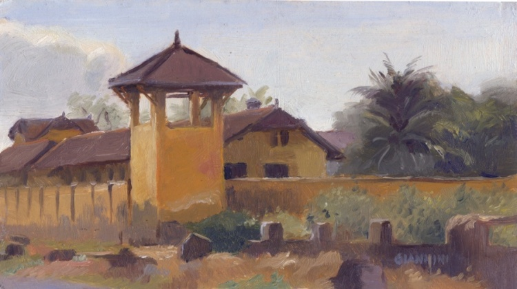 "French Colonial Prison, Kampot, Cambodia,5 x 9"" or 13 x 23 cm.,oil"