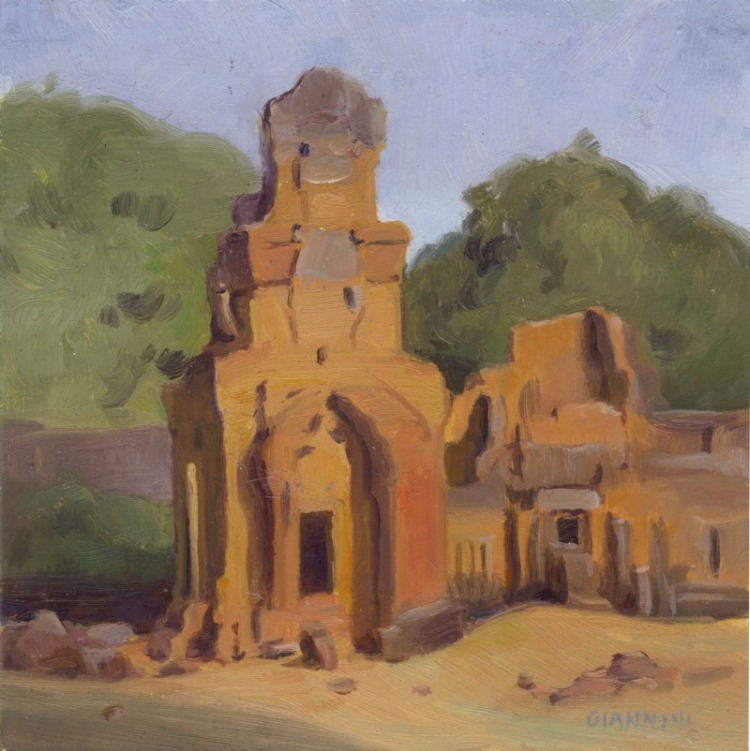 "Angkor Treasure Storage Houses # 2, 7 x 7"" or 13 x 18 cm., Oil."