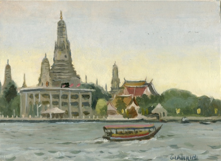 "Chao Praya River, Bangkok, 5 x 7"" or 18 x 18 cm., Oil"