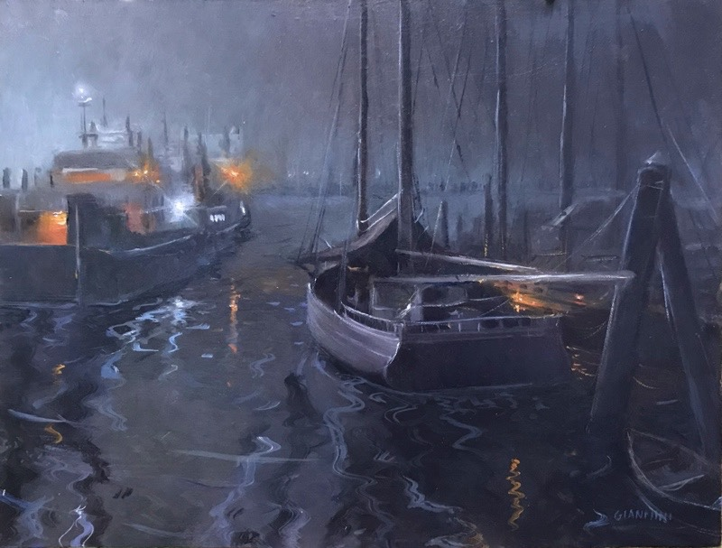 Foggy Night,Rockland, Maine,12 x 16 in.