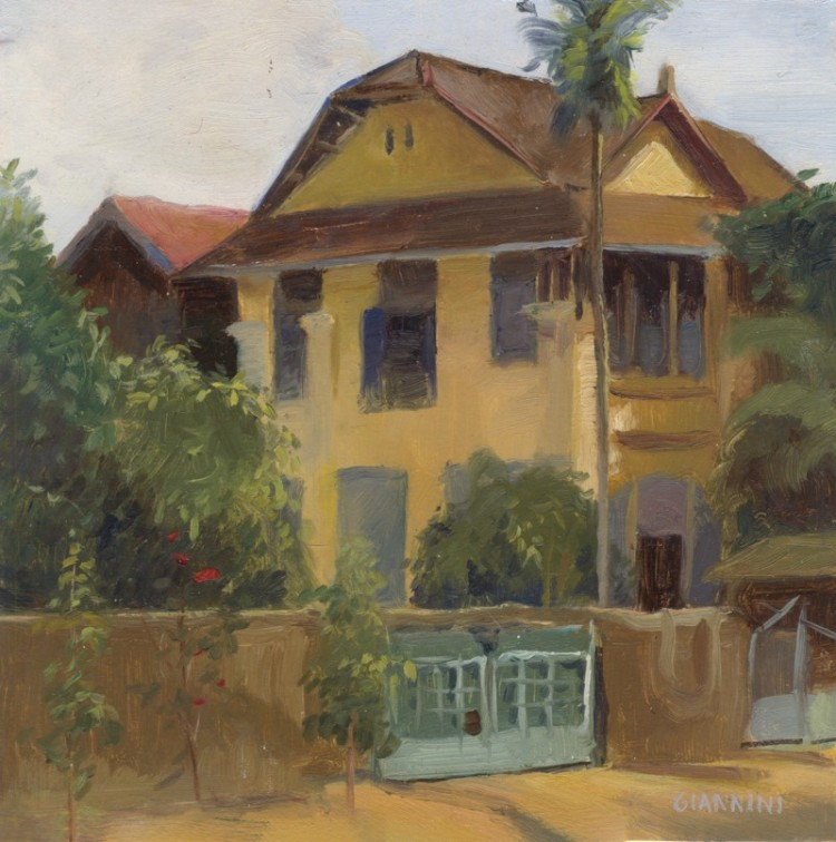 "Colonial Building, Kampot, Cambodia,5 x 9"" or 13 x 23 cm.,oil"