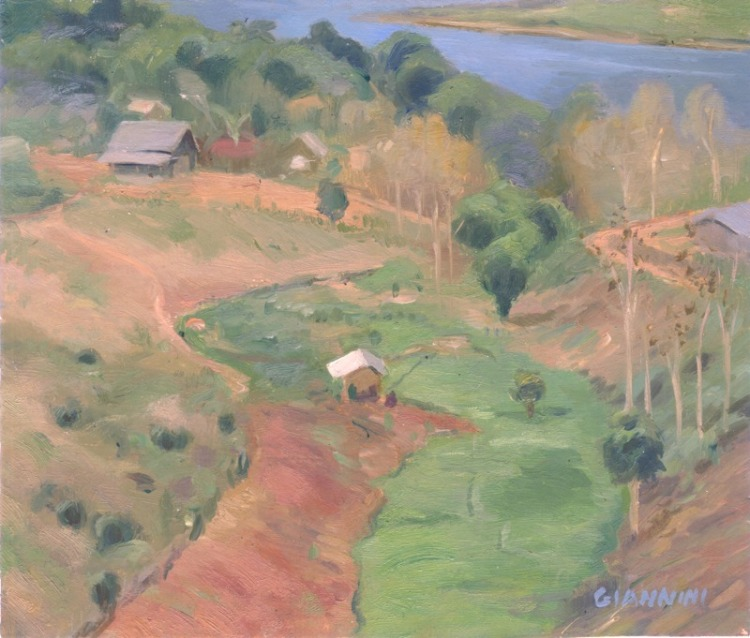 "Near Nong Khiaw, Laos 5 x 9"" or 18 x 18 cm., oil"