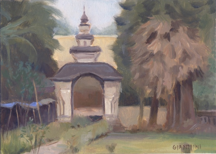 Wat Gates, Luang Prabang, Laos, 5 x 7 or 13 x 18 cm., oil.