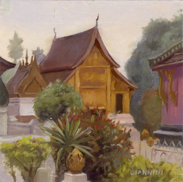 Buddhist Wat, Luang Prabang, Laos, 7 x 7 or 18 x 18 cm., oil.